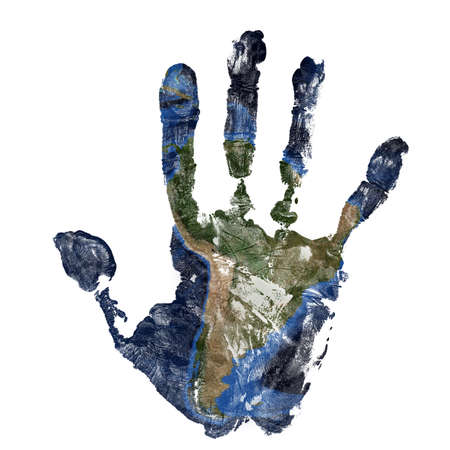 Real hand print combined with a map of South America of our blue planet Earth - isolated on white background.Elements of this image furnished by NASA Stock Photo - 119551233