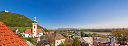 View of the Danube of Vienna and the Saint Leopolds Church on Leopoldsberg from Kahlenbergerdorf, a part of Döbling, the 19th district of Vienna.