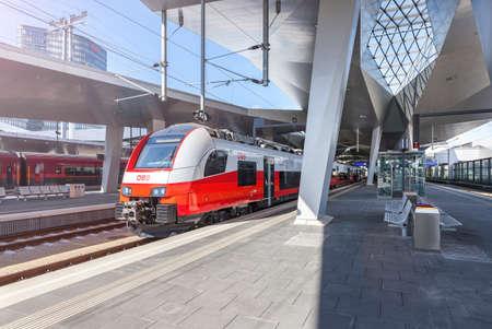 VIENNA, AUSTRIA - SEPTEM 8, 2015: The new Main Railway Station of Vienna with the new OEBB Train Cityjet. Editorial