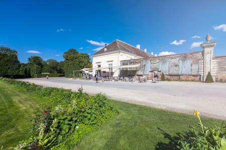 Augarten with the Augarten Cafe Restaurant. The Augarten park is located in the second district of Vienna Austria and was formerly an imperial hunting garden. Stock Photo