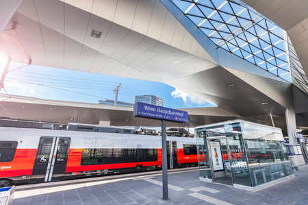 The New Main Railway Station with the new OEBB Train Cityjet.