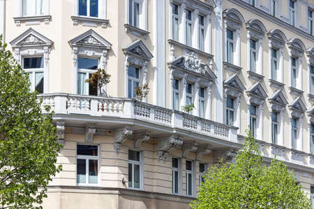 Art Nouveau Facade of an old building in the city of vienna. Stock Photo
