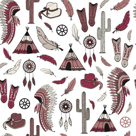 Western style elements seamless pattern background texture