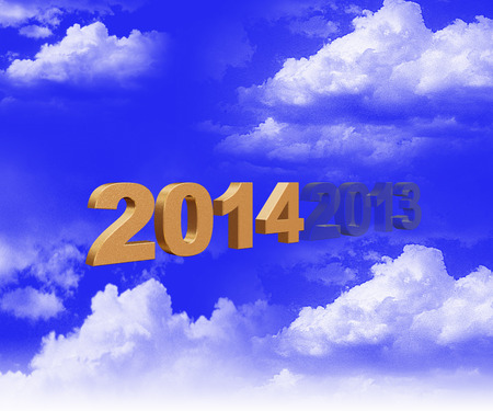 new year card with cloud background photo