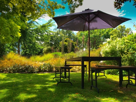 modern garden: dining table with chairs and parasol in the shade in a lush garden