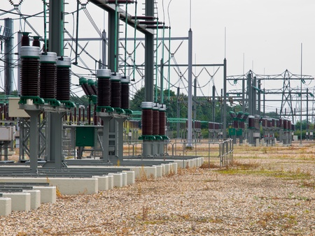 electricity substation: high power transformation system site with white background Stock Photo
