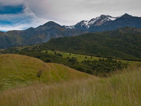 kaikoura: Kaikoura range seen from the top of a hill Stock Photo