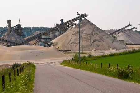 sand mining site with acces road