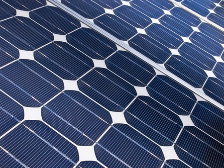 detail of a solar cell panel on a beatiful sunny day photo