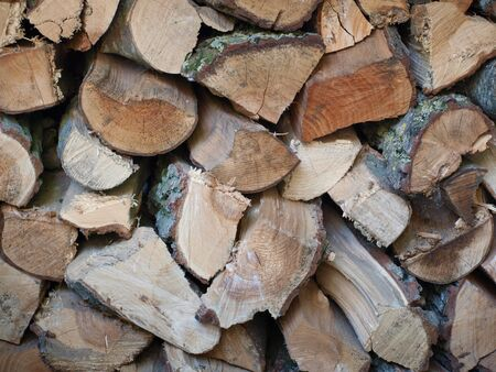 Detail of a pile of firewood photo