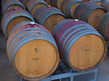 Wine barrels in arrangement waiting in a cellar Stock Photo - 10834515