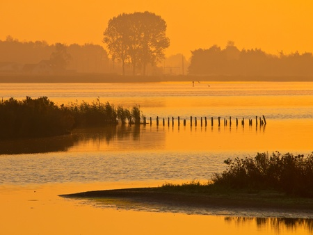 meer: orange glow during sunrise over lake zuidlaardermeer