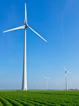 Wind turbine in dutch agricultural landscape photo