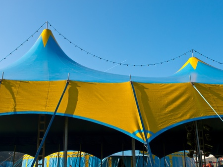 entertainment tent: Roof of a blue and yellow circus tent