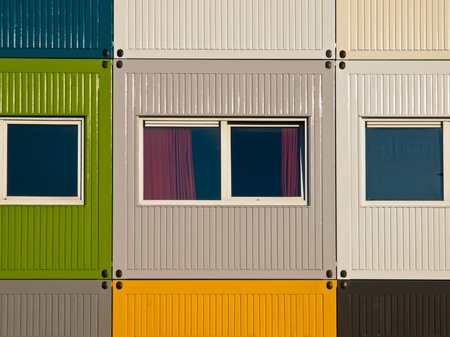 Apartments in cargo containers in many colors