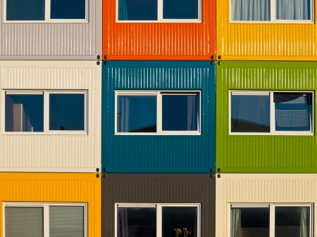 cargo container apartments as a solution to housing problem Stock Photo - 12285638