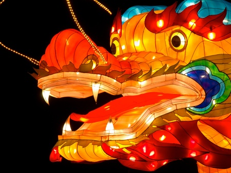 Close up of the head of a dragon lantern at China Light Festival photo