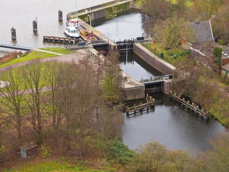 waterway: Dutch lock chamber system seen from above Stock Photo