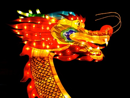 Dragon head during celebration of chinese new year photo