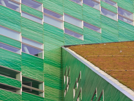 rudy: Detail of a modern building with a sedum roof Stock Photo
