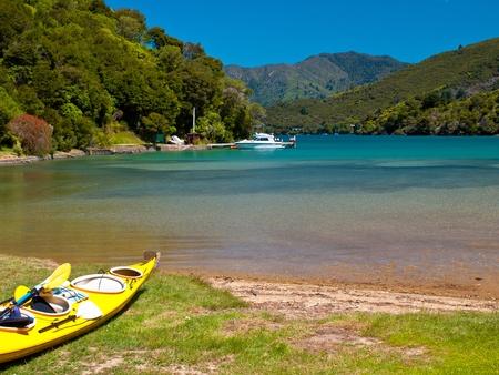marlborough: Kayaking is a popular sport in Marlborough sounds, New Zealand Stock Photo