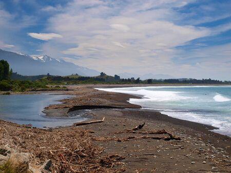 kaikoura: River mouth at kaikoura coast, New Zealand