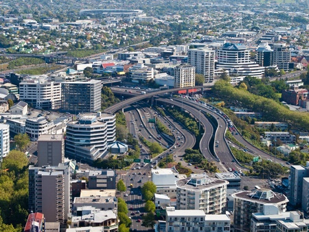 Aerial view of major intersection in Auckland city