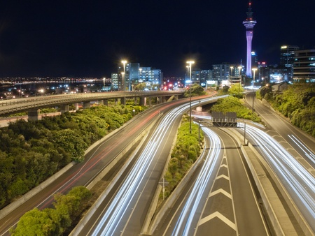 Night traffic in Auckland, New zealand