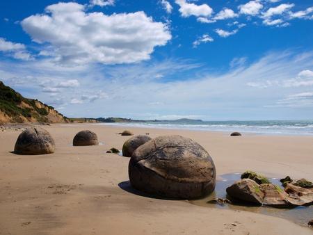 Strange geological phenomena at a sunny beach photo