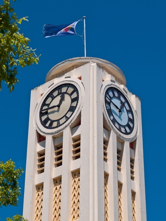 hastings: White art deco clock tower in the town of hastings New Zealand