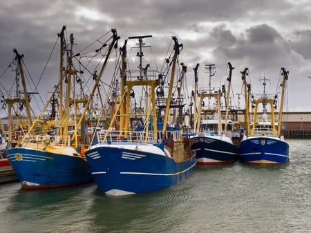 barca da pesca: Moderne barche da pesca sotto un cielo cupo in un porto di pesca olandese