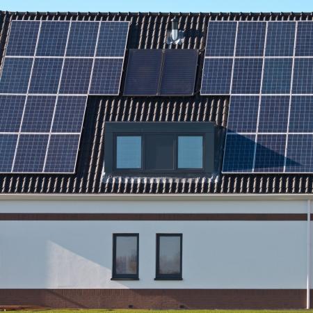 photoelectric: Solar panels on a modern design newly built house