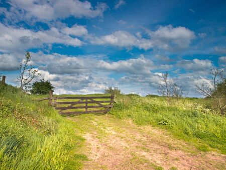 Entrance gate to a nature reserve on a ditch dike Stock Photo - 13746601