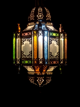 brass lamps: Colorful arabian lamp of metal and glass with abstract motive. Copy space
