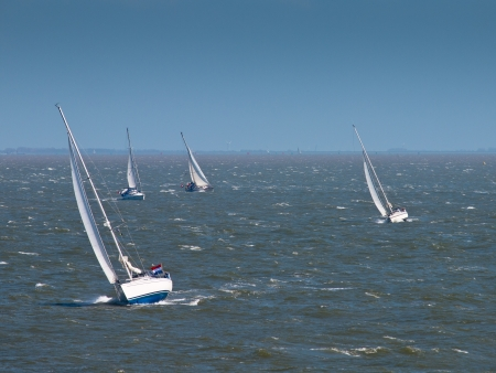 Sailing boats in strong wind on the dutch wadden sea photo