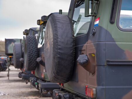 deployment: Army vehicles lined up in formation