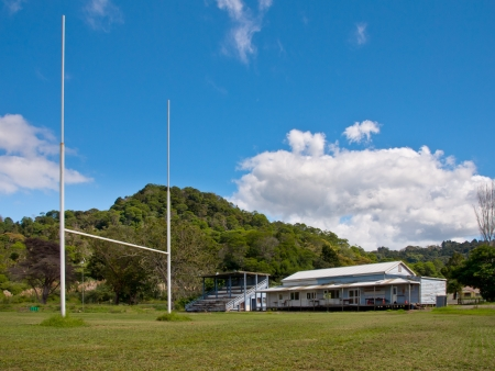KOHUKOHU - APRIL 13: Kohukohu&Acirc,&acute,s Rugby Field on April 13, 2011 in Kohukohu, New Zealand. Rugby is New Zealands national sport. Every small settlement in the country has it&Acirc,&acute,s own rugby club.