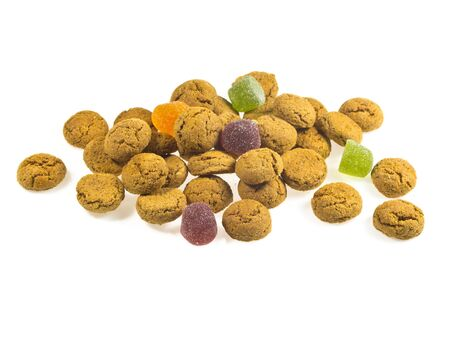 pepernoot: Pile of Pepernoten, typical Dutch treat for Sinterklaas in december, over White Background