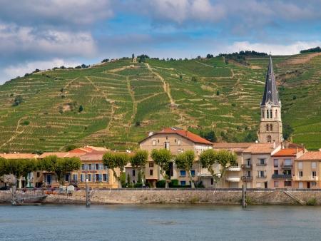 Ein Dorf am Fluss und Weinberge auf den Hügeln von der Cote du Rhone Bereich in Frankreich