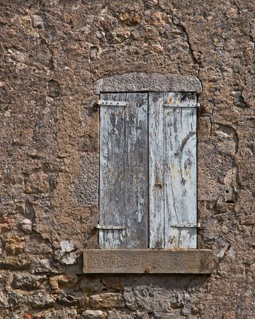 Facade of an Old French House With Window Panes and Window Shutters Stock Photo - 17325422