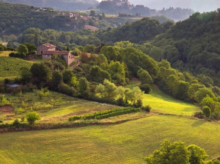 Rural Landscape in the early Morning in the Ardeche, France photo