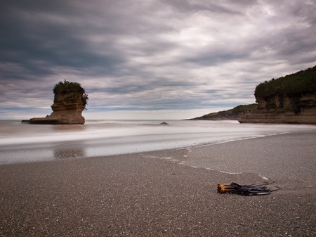 perpendicular: Free Standing Sedimentary Sea Rock, Punakaiki, West Coast, New Zealand