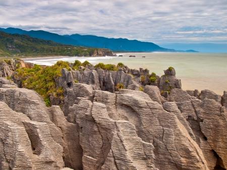orificio nasal: Formaciones sedimentarias de Pancake Rocks, Punakaiki, West Coast, Nueva Zelanda