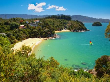 Aerial view of a Beautiful Bay with Sandy Beach near Nelson, New Zealand Reklamní fotografie