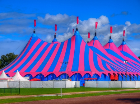 big top: Huge Big Top Circus Tent, Buit up for a Music Festival on a Sunny Day in the Park