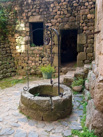 Old Wishing Draw Well in a Gothic Style Castle in France