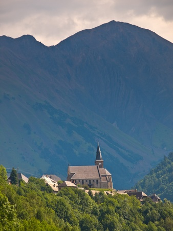 Church on a Hilltop in the Alps in France photo