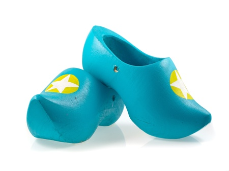 klompen: Blue Pair of Traditional Wooden Shoes from the Netherlands on a White Background