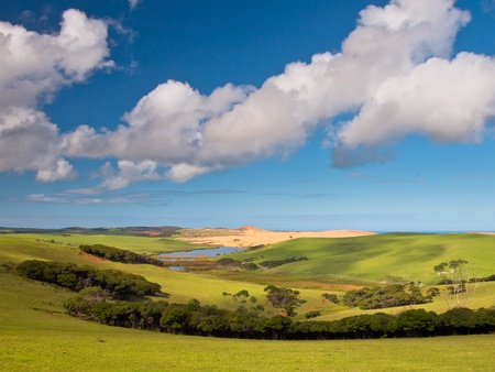 Lovely Green Valley with Blue Sky and Clouds in Northland, North Island New Zealand Stock Photo - 18818727