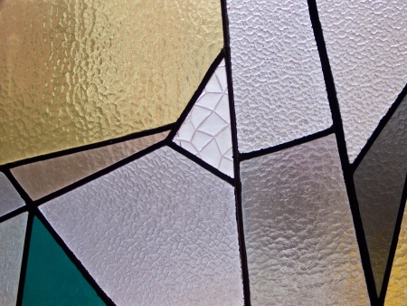 Modern art stained glass in a new church Stock Photo